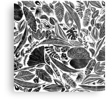 Lino cut printed pattern, nature inspired, handmade, black and white Metal Print