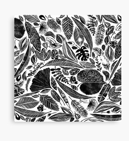 Mixed leaves, Lino cut printed nature inspired hand printed pattern Canvas Print