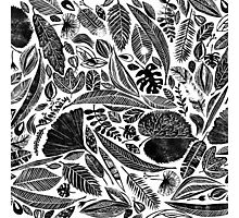 Lino cut printed pattern, nature inspired, handmade, black and white Photographic Print