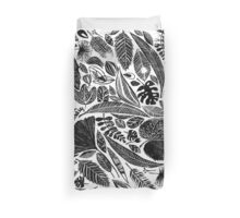 Lino cut printed pattern, nature inspired, handmade, black and white Duvet Cover
