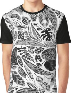 Mixed leaves, Lino cut printed nature inspired hand printed pattern Graphic T-Shirt