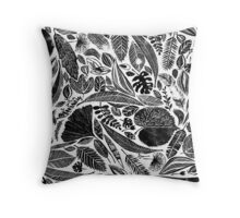 Lino cut printed pattern, nature inspired, handmade, black and white Throw Pillow