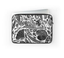 Mixed leaves, Lino cut printed nature inspired hand printed pattern Laptop Sleeve