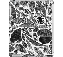 Lino cut printed pattern, nature inspired, handmade, black and white iPad Case/Skin