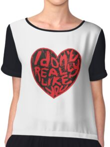 I Don't Really Like You Distressed Lino Cut Print Chiffon Top