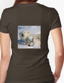 Polar bear cubs playing together Womens Fitted T-Shirt