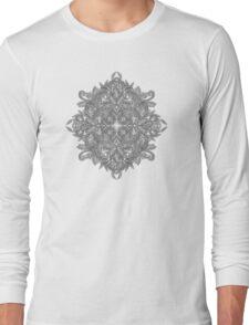 Vintage Winter Monochrome Doodle Long Sleeve T-Shirt