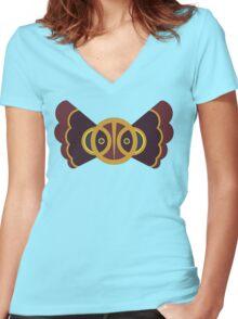 Owl Totem Women's Fitted V-Neck T-Shirt