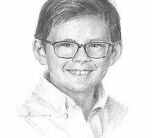 boy with glasses drawing by Mike Theuer