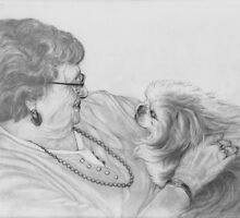 Old Friends, graphite drawing by Pam Humbargar