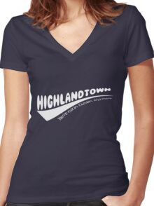 Highlandtown - White  Women's Fitted V-Neck T-Shirt