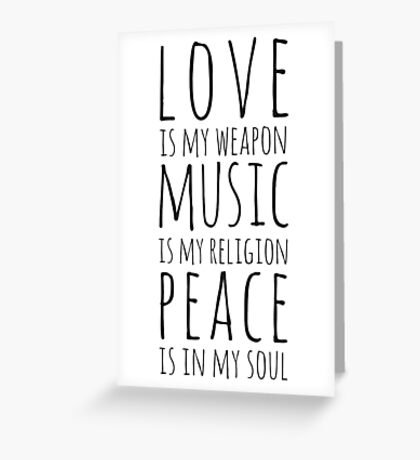 Love, Music & Peace Greeting Card