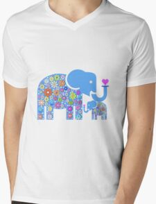 Mum & Baby Elephant  Mens V-Neck T-Shirt