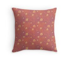 Yellow Flowers on Grunge Pink Throw Pillow