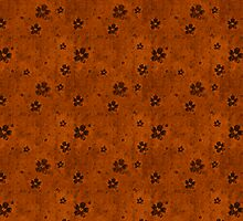 Black Floral Pattern Over Burnt Orange by pjwuebker