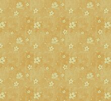 Grungy White Flowers Pattern On Yellow by pjwuebker