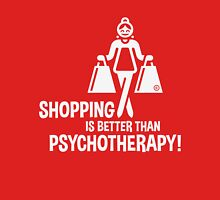 Shopping Is Better Than Psychotherapy! (White) Womens Fitted T-Shirt