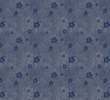 Dark Blue Flowers Over Faded Blue by pjwuebker