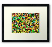 """""""BOINGO"""" animal doodle colour cartoon Framed Print"""