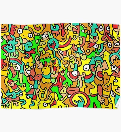 """BOINGO"" animal doodle colour cartoon Poster"