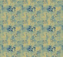 Dark Blue Butterflies Pattern On Yellow by pjwuebker