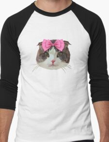 Pink Bow Cat Men's Baseball ¾ T-Shirt