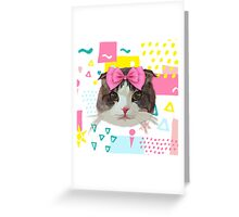 Pink Bow Cat Greeting Card