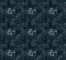 Antique White Butterflies Pattern on Dark Blue by pjwuebker