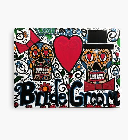 Bride and Groom Sugar Skulls Canvas Print