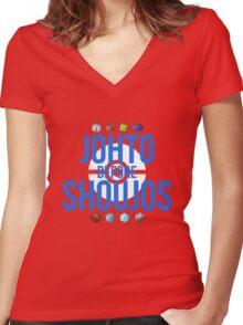 Johto Before Shoujos (White) Women's Fitted V-Neck T-Shirt