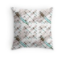 Dragonfly Air Force on White Throw Pillow