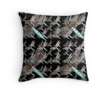 Dragonfly Air Force Pattern on Black Throw Pillow