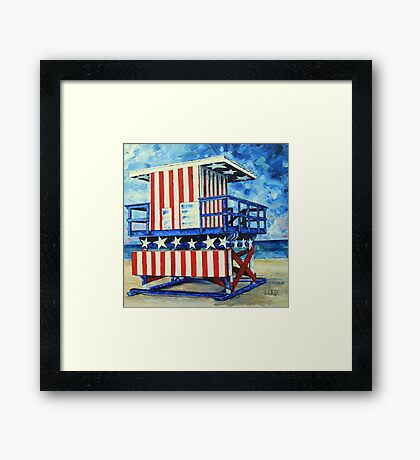 Red, white and beach by Lisa Elley Framed Print