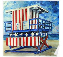 Red, white and beach by Lisa Elley Poster