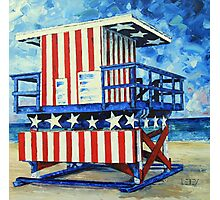 Red, white and beach by Lisa Elley Photographic Print