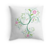 Swirly Pink and Green Flowers on White Throw Pillow