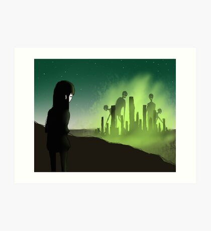 In the distance there was a city engulfed in green flames and she could see enormous figures staring back at her Art Print