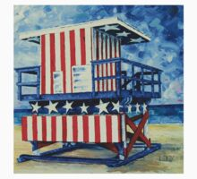 Red, white and beach by Lisa Elley T-Shirt