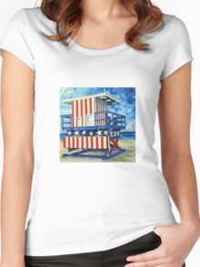Red, white and beach by Lisa Elley Women's Fitted Scoop T-Shirt