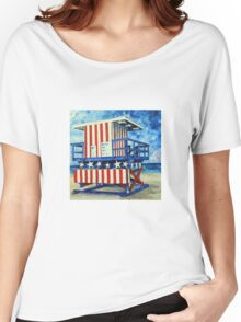 Red, white and beach by Lisa Elley Women's Relaxed Fit T-Shirt