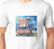 Red, white and beach by Lisa Elley Unisex T-Shirt
