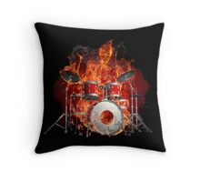 Flaming Skeleton on Drums Throw Pillow
