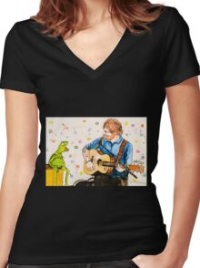 Ed Sheeran and Kermit the Frog Color Splash  Women's Fitted V-Neck T-Shirt