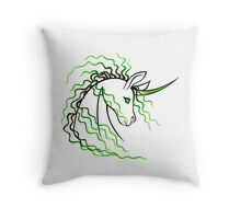 Ki-Rin (Japanese Unicorn) - Green Throw Pillow