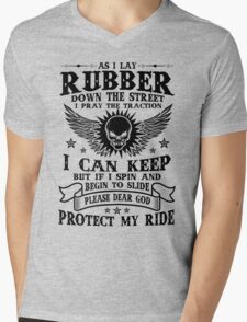 AS I Lay Rubber Protect My Ride, Motorcycle Rider Lovers Quote T-Shirt Mens V-Neck T-Shirt