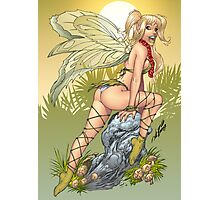 Beautiful Elf Fairy Perching On A Rock Photographic Print