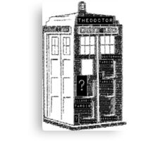 Tardis Word Art Canvas Print