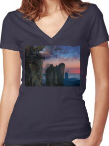 Rock Tower World - dreamscape illustration Women's Fitted V-Neck T-Shirt