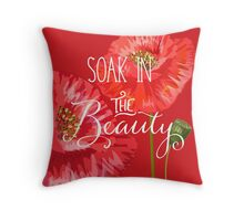 Red Poppies Soak in the Beauty Throw Pillow