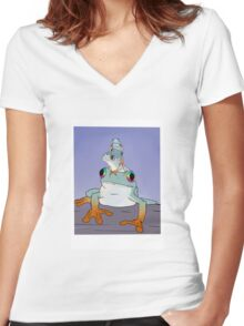 Frogs Women's Fitted V-Neck T-Shirt